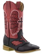 womens black red cross design leather western cowboy riding boots square toe