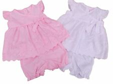 BNWT Baby girls pink or white broderie anglaise summer dress & knickers 3 sizes