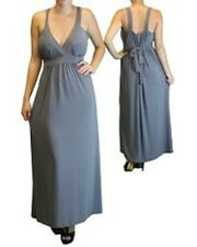 Gray Maxi Dress Empire Waist Crossfront 1X 2X 3X Full Length Belted New Plus