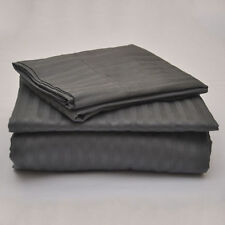 Dark Grey Stripe 100% Egyptian Cotton 1000 TC 35 Cm Drop 4 PCs Sheet Set