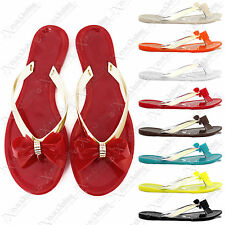 WOMENS LADIES DIAMANTE BOW TOE POST FLIP FLOPS JELLY SUMMER FLAT SANDAL SHOES