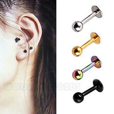 2PC Surgical Steel Tragus Ear stud 4 Color Preventing allergy