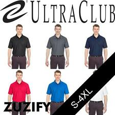 UltraClub Mens Cool and Dry Pebble Knit Polo Shirt. 8240