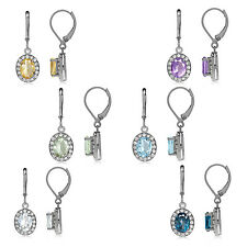 Gemstone 925 Sterling Silver w/White Gold Plated Halo Leverback Earrings