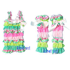 Baby Girls Hot Light Pink Green Lace Bow Petti Rompers Matching Warmers NB-3Y
