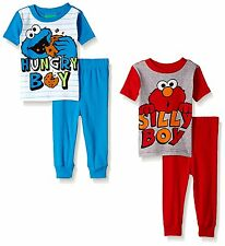 Sesame Street Elmo Cookie Monster Boys 4 piece Pajamas Set 21SS201YSL 21SS201ESL