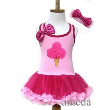 Baby Girls Light Hot Pink Rosettes Ice Cream Tutu Pettiskirt Party Dress 1-4Y