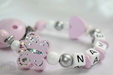 Personalised Wooden dummy clip * Pink Butterfly- Chain / Strap Baby Present