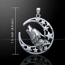 Pendant - A Baying Wolf under a Silver Moon - cast in sterling silver