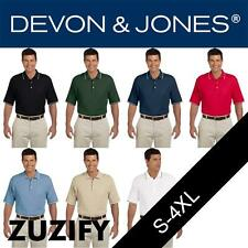 Devon & Jones Mens Pima Pique Short-Sleeve Tipped Polo Shirt. D113