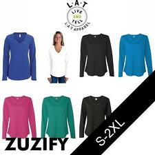 LAT Apparel Ladies French Terry V-Neck Pullover. 3761