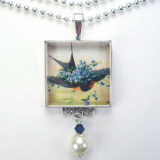 """BLUE BIRD & FORGET ME NOT """"VINTAGE CHARM"""" SILVER OR BRONZE PENDANT NECKLACE"""