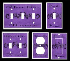 BLESS THIS HOME SCROLL PURPLE  LIGHT SWITCH COVER PLATE