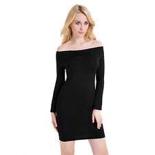 Women's Sexy Off Shoulder Bodycon Long Sleeve Cocktail Club Sheath Dress Rapture