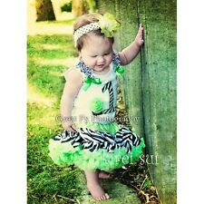 Baby 1st 2nd 3rd Cupcake Tank Top Green Zebra Pettiskirt Birthday Party Dress
