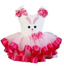 Light Hot Pink Polka Dots Tutu Easter Buttons Bunny Tee 2pc Outfit Party Dress