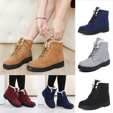 Womens Winter Warm Shoes Casual Faux Suede Fur Lace-up Ankle Boots Snow Boots