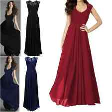 UK Womens Chiffon Formal Party Prom Lace Ballgown Cocktail Bridesmaid Long Dress