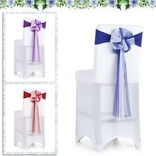 10x Spandex Elastic Wedding Party Chair Cover Band Sashes Bows Events Decor R6K7