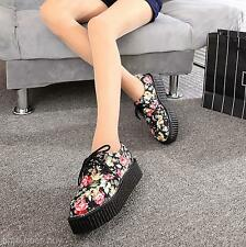2016 Women's Girl's Floral Stacked Lace Up Punk Goth Flat Platform Creeper Shoes
