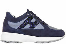 HOGAN WOMEN'S SHOES SUEDE TRAINERS SNEAKERS NEW INTERACTIVE  H STRASS BLUE 371