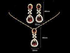 Elegant Red CZ Gold Plated Lady Necklace/ Earrings Jewellery Set