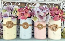 Shabby Chic Vase Painted Tin Cans Rustic Distressed Table Centerpiece Decoration