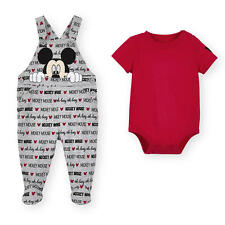 Disney Baby 2 Piece Mickey Mouse Gray Overall Set with Red Bodysuit