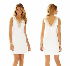 New Lilly Pulitzer BENTLEY SHIFT DRESS 4 6 10 12 14 Resort White Gold Lace NWT