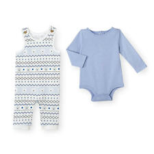 Koala Baby 2 Piece Blue Bodysuit and Fair Isle Overalls Set