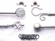 19mm Silver Bay Window Curtain Pole Twisted Cage Spiral Ball Scroll Finials 3m