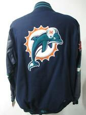 Miami Dolphins Mens Medium & Large Snap Up Wool Leather Reversible Jacket DOL 37