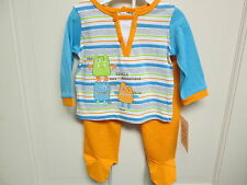 Boy's Blue and Orange Little Monster 2-Piece Layette Set by Absorba, NWT
