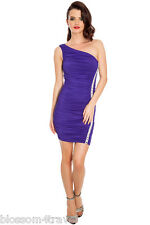 Purple Figure hugging Diamante Trim One Shoulder Party Evening Dress Cocktail