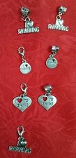 ANTIQUE SILVER I LOVE TO SWIM CHARM - SWIMMING - WATER - SPORTS - POOL
