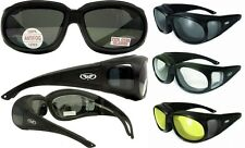 Padded Anti Fog Motorcycle Sun Glasses FIT OVER PRESCRIPTION RX GLASSES Fitover