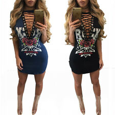Women Sexy Hollow Out Lace Up Night Clubwear Short Sleeve Printed Mini Dresses