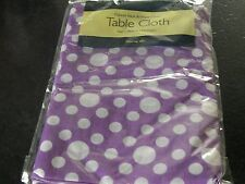 PURPLE AND WHITE SPOTTY FLANNEL BACK TABLE CLOTH .178CMX132CM. APPROX