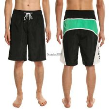 Men Casual Elastic Waist Drawstring Letter Print Beach Board Shorts Swim ED