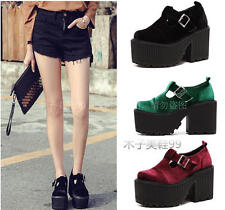 Womens Round Toe Suede Platform High Heels Ankle Strap Mary Jane Creepers Shoes