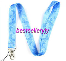 Wholesale Blue Butterfly neck mobile Phone lanyard Keychain straps charms Gifts