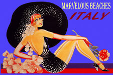 ITALY MARVELOUS BEACHES FASHION BEACH GIRL BIG HAT TRAVEL VINTAGE POSTER REPRO