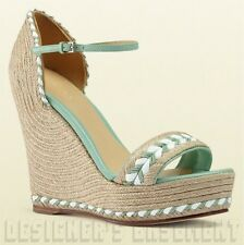 GUCCI mint Green leather trim TIFFANY platform Espadrille WEDGE shoes NIB Authen