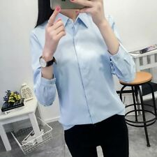 New Womens Solid Blue/Pink/White Long Sleeve Button Down Shirt Blouse Tops