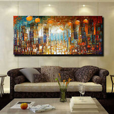 Hand-painted Art Modern Wall Decor Abstract Oil Painting Canvas,City (No Frame)