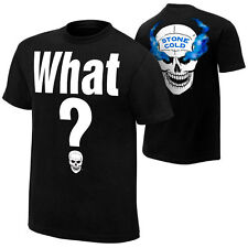"""WWE OFFICIAL STONE COLD STEVE AUSTIN """"WHAT?"""" 2-SIDED BLACK LIMITED T-SHIRT NWT"""