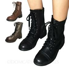 BLACK Flat Lace Up Zip Military Combat Ankle Boots Victorian Steampunk Mid Retro