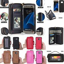 Removable Flip PU Leather Zipper Wallet Purse Card Cover Case For iPhone Samsung
