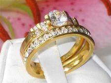 CHANNEL SET SOLITAIRE  ENGAGEMENT SIMULATED DIAMOND RING  WEDDING BAND SET rg058