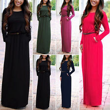 Sexy Womens Long Sleeve Maxi Dress Evening Cocktail Party Summer Beach Wear 8-16